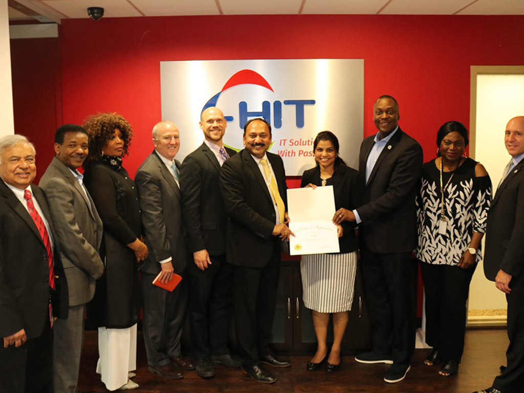 Newly-elected Howard County Executive, Calvin Ball, during his visit to C-HIT's corporate offices.
